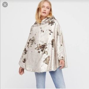 NWT Free People Stay Golden Sequins Poncho